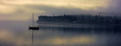 Mans Best Friend - Boat in a Foggy Cove by Rick Lawler