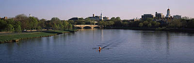 Boat In A River, Charles River, Boston Art Print by Panoramic Images