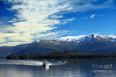 Boat In Alaska Fjord Art Print