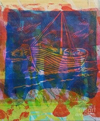 Mixed Media - Boat In Blue by Cynthia Lagoudakis