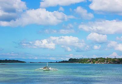 Canoe Photograph - Boat In The Ocean, Bohol Island by Keren Su