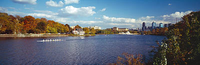 Boat In The River, Schuylkill River Art Print by Panoramic Images