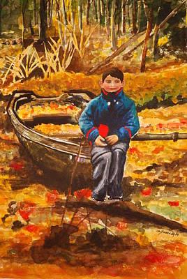 Boat In The Woods Art Print by Joy Bradley