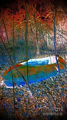 Art Print featuring the photograph Boat In The Woods by Karen Newell