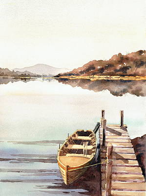 Painting - Boat Jetty On Lough Erne Fermanagh by Val Byrne