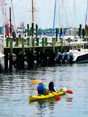 Boat - Kayaking In Newport Ri Art Print