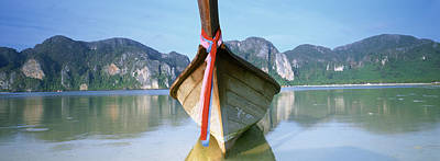 Longtail Wall Art - Photograph - Boat Moored In The Water, Phi Phi by Panoramic Images