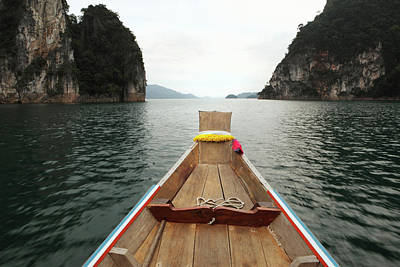 Longtail Wall Art - Photograph - Boat Moving Through Khao Sok National by Paul Taylor