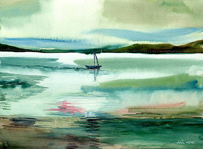 Boat N Creek Art Print by Anil Nene