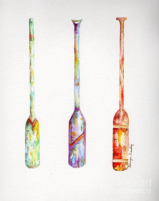 Painting - Boat Oars X 3 by Tamyra Crossley