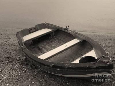 Boat On Black Art Print by Katerina Kostaki