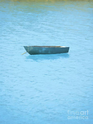 Water Painting - Boat On Blue Lake by Pixel Chimp