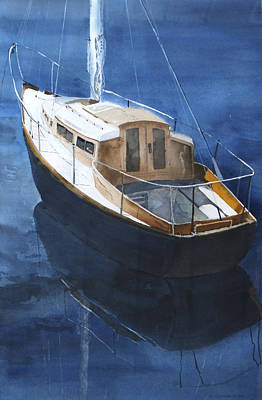 Art Print featuring the painting Boat On Blue by Susan Crossman Buscho