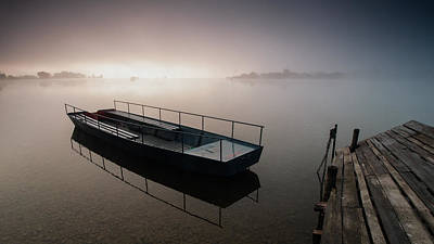 Photograph - Boat On Foggy Lake II by Davorin Mance