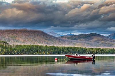Boat On Lake Mcdonald Art Print