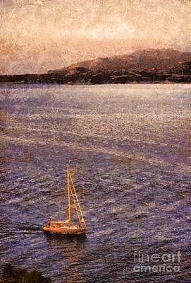 Boat On Ocean At Dusk Art Print