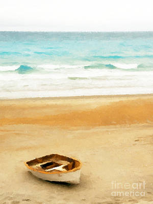 Beach Painting - Boat On Shore by Pixel  Chimp