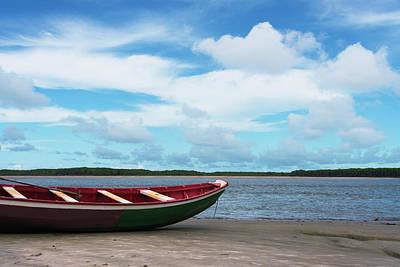 Canoe Photograph - Boat On The Beach Along The Preguicas by Keren Su