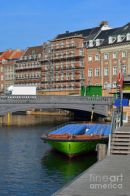 Copenhagen Denmark Digital Art - Boat On The Holmens Copenhagen Demark by Eva Kaufman