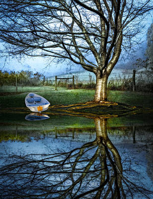 Boat On The Lake Art Print by Debra and Dave Vanderlaan