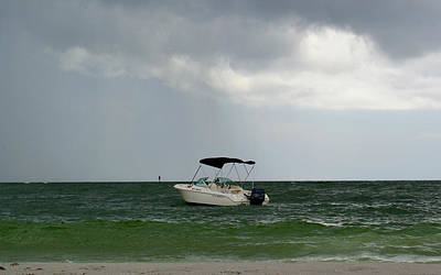 Photograph - Boat On The Ocean Before The Storm by Amber Summerow