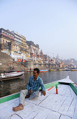 Boat On The River Ganges At Varanasi In India Art Print by Robert Preston