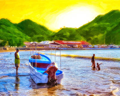 Photograph - Boat Painter On A Tropical Beach - Nicaragua by Mark E Tisdale