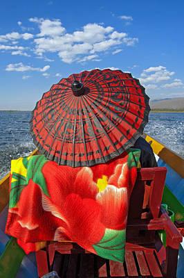 Boat Passanger With Pathein Umbrella Print by Judith Barath