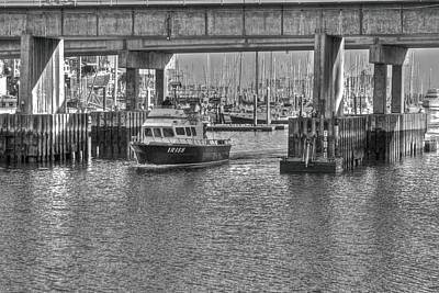 Photograph - Boat Passing Through Harbor by SC Heffner
