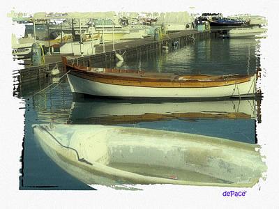 Row Boat Digital Art - Boat Pier by KJ DePace