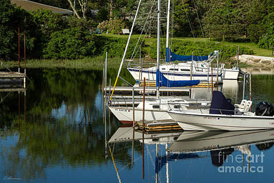 Print featuring the photograph Boat Reflections In Cape Cod Hen Cove by Eleanor Abramson