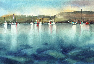 Boat Reflections Art Print by Sophia Rodionov