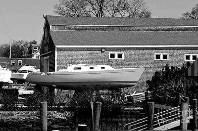 Photograph - Boat Repair Shop Number Two In Black And White by Christopher Shellhammer