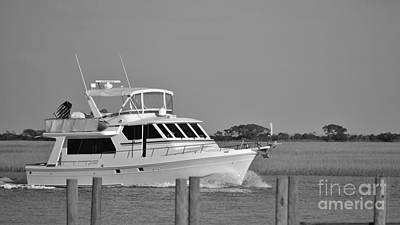 Photograph - Boat Ride In Black And White by Bob Sample