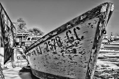 Boat - State Of Decay In Black And White Art Print by Paul Ward