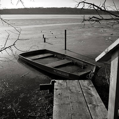 Photograph - Boat In Ice - Lake Wingra - Madison - Wi by Steven Ralser