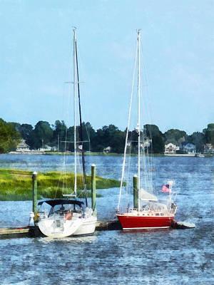 Harbor Photograph - Boat - Two Docked Sailboats Norwalk Ct by Susan Savad