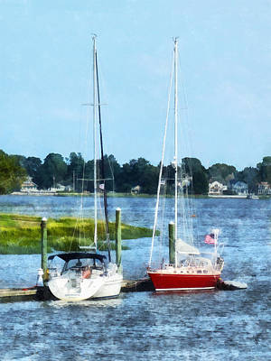 Photograph - Boat - Two Docked Sailboats Norwalk Ct by Susan Savad