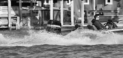Lakeview Photograph - Boat Wake Black And White by Dan Sproul