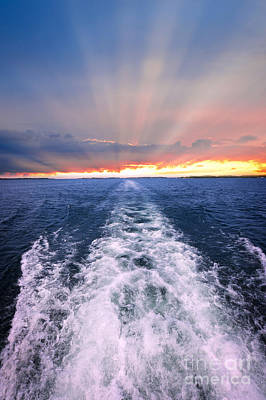 Sunrays Photograph - Boat Wake On Georgian Bay  by Elena Elisseeva