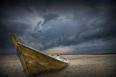 Flying Gull Photograph - Boat With Gulls On The Beach With Oncoming Storm by Randall Nyhof