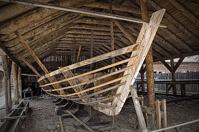 Boat Works In Fort Edmonton Art Print by Randall Nyhof