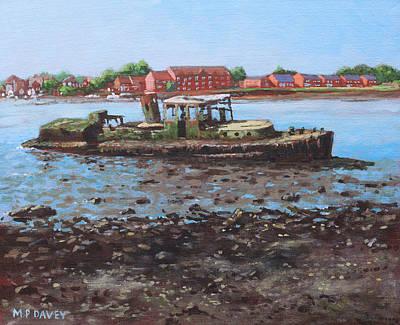 Painting - Boat Wreck At Bitterne Manor Park by Martin Davey
