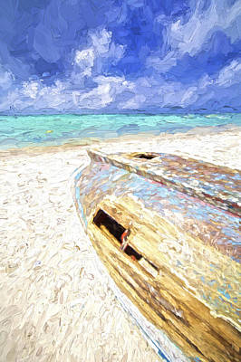 Storm Clouds Painting - Boat Wreck Of Aruba by David Letts