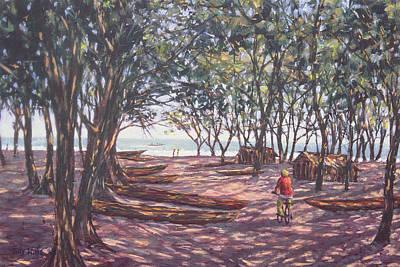 Canoe Photograph - Boat Yard, Kafountine, 1998 Oil On Canvas by Tilly Willis