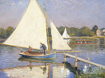 Reflecting Water Painting - Boaters At Argenteuil by Claude Monet