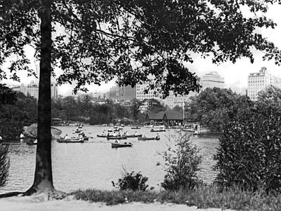 Boaters In Central Park Art Print by Underwood Archives