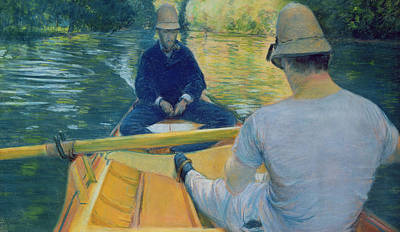 Boaters On The Yerres Art Print by Gustave Caillebotte