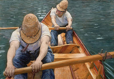 Boaters Rowing On The Yerres Art Print by Gustave Caillebotte