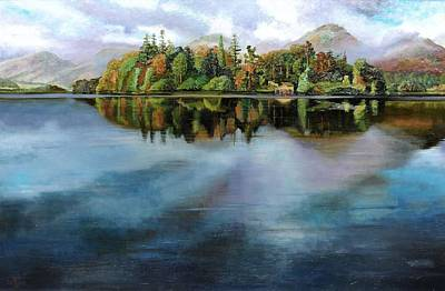 Lakeside Photograph - Boathouse, Derwentwater, Cumbria, 2008 Oil On Canvas by Trevor Neal